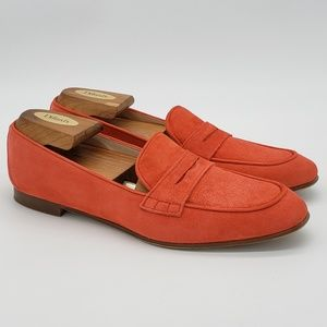 J Crew Flats Suede Shoes Peach Sz 8.5 Italy Womens